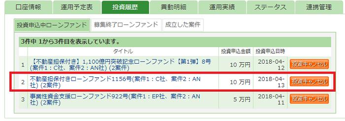 maneo(マネオ)ソーシャルレンディングファンド不動産担保付きローンファンド1156号投資申込完了01