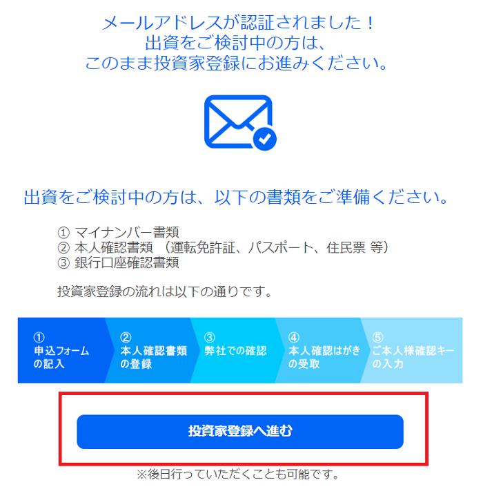 SBIソーシャルレンディングが登録メールアドレスの認証を行います。
