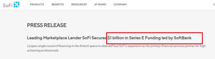 アメリカの有名ソーシャルレンディング事業者、sofiには、ソフトバンクも出資している。