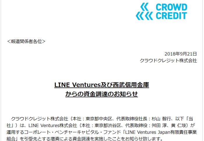 ソーシャルレンディングのおすすめ会社クラウドクレジットは、LINEベンチャーズからも出資を受けている。