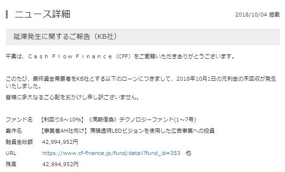 ソーシャルレンディング事業者別【遅延発生状況】キャッシュフローファイナンス