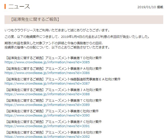 ソーシャルレンディング事業者別【遅延発生状況】クラウドリース