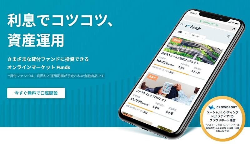 ソーシャルレンディングサービスFundsのホームページ