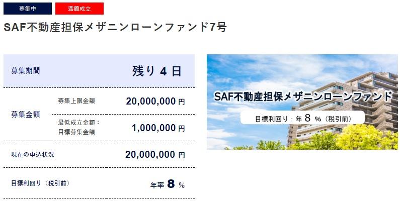SAMURAIの新ファンド「SAF不動産担保メザニンローンファンド7号」が満額成立