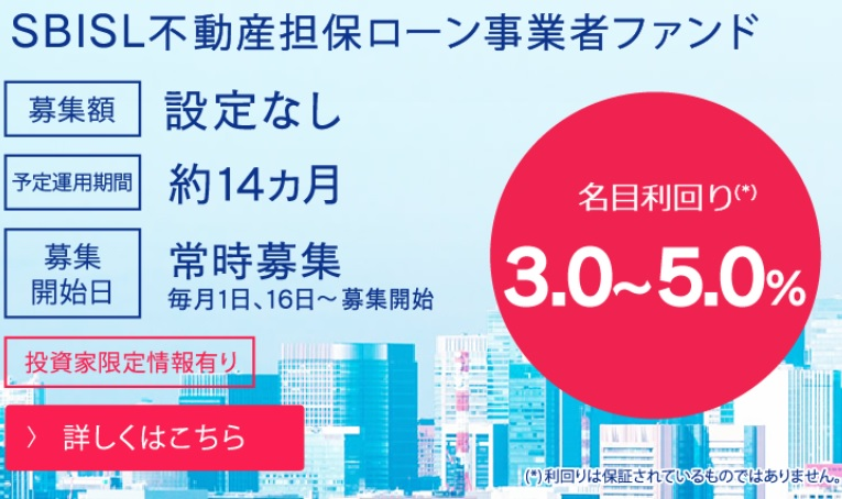 SBIソーシャルレンディングの「不動産担保ローン事業者ファンド」10月第1号の投資申込が受付スタート