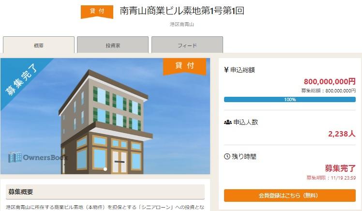 OwnersBookの「南青山商業ビル素地第1号第1回」ファンド