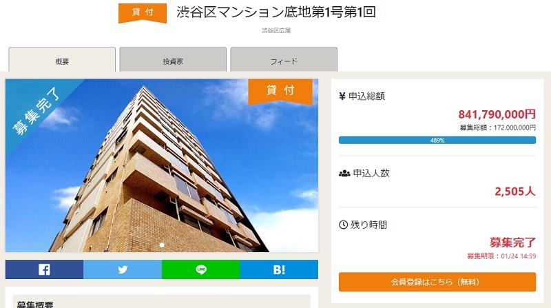 オーナーズブックの「渋谷区マンション底地第1号第1回」ファンド