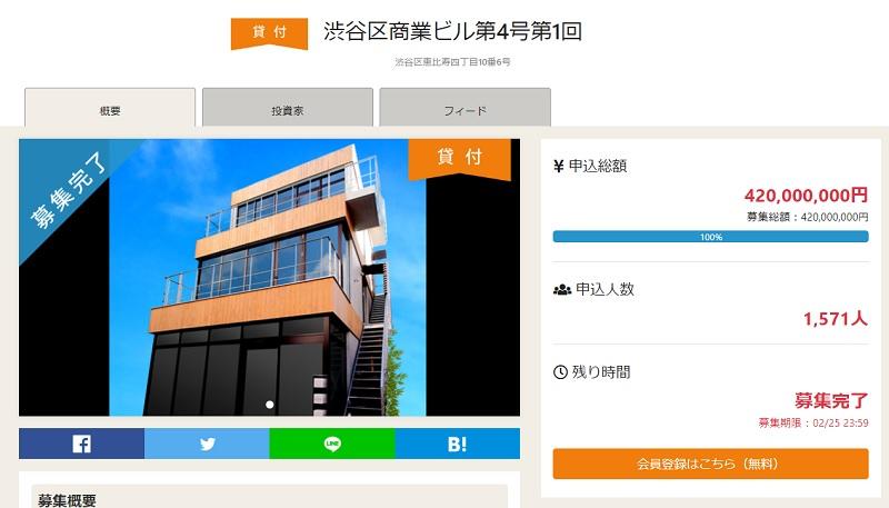 OwnersBookの、「渋谷区商業ビル第4号第1回」ファンド。
